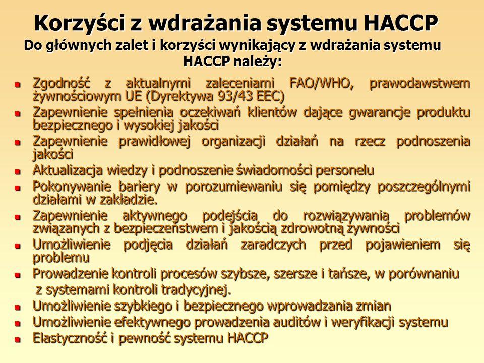 Korzyści z wdrażania systemu HACCP Do głównych zalet i korzyści wynikający z wdrażania systemu HACCP należy:
