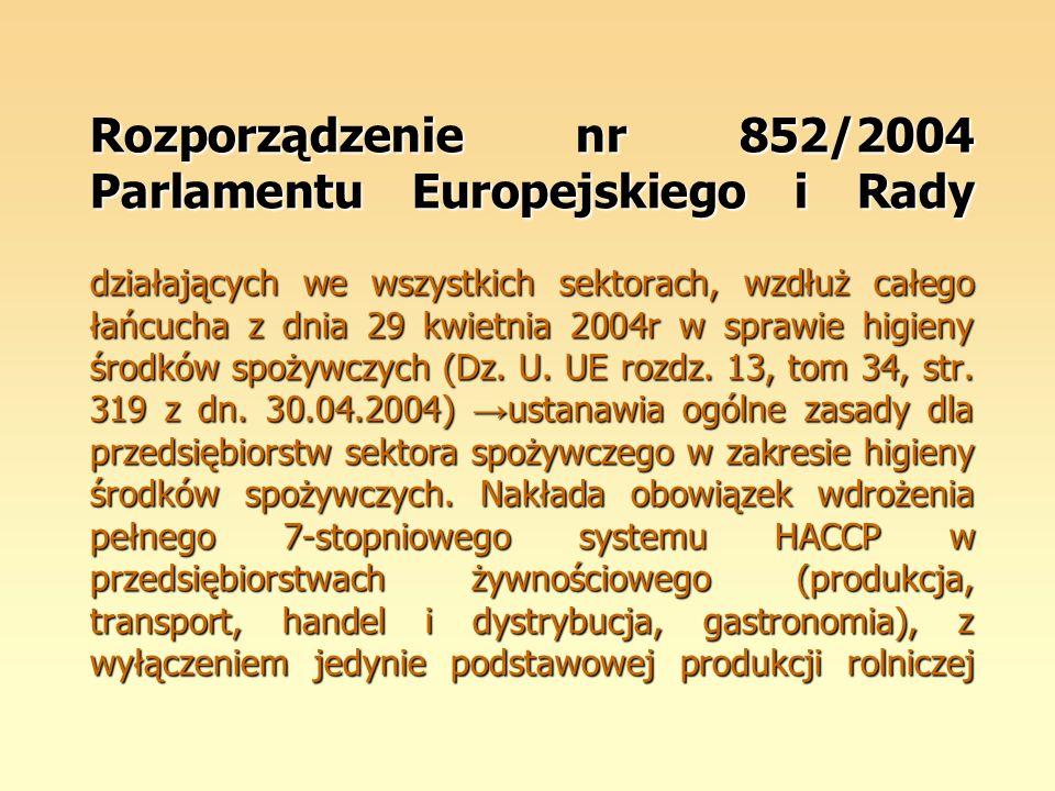Rozporządzenie nr 852/2004 Parlamentu Europejskiego i Rady działających we wszystkich sektorach, wzdłuż całego łańcucha z dnia 29 kwietnia 2004r w sprawie higieny środków spożywczych (Dz.