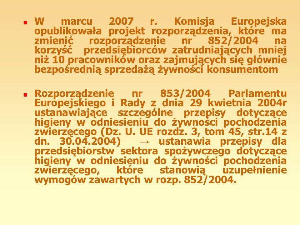 W marcu 2007 r. Komisja Europejska opublikowała projekt rozporządzenia, które ma zmienić rozporządzenie nr 852/2004 na korzyść przedsiębiorców zatrudniających mniej niż 10 pracowników oraz zajmujących się głównie bezpośrednią sprzedażą żywności konsumentom