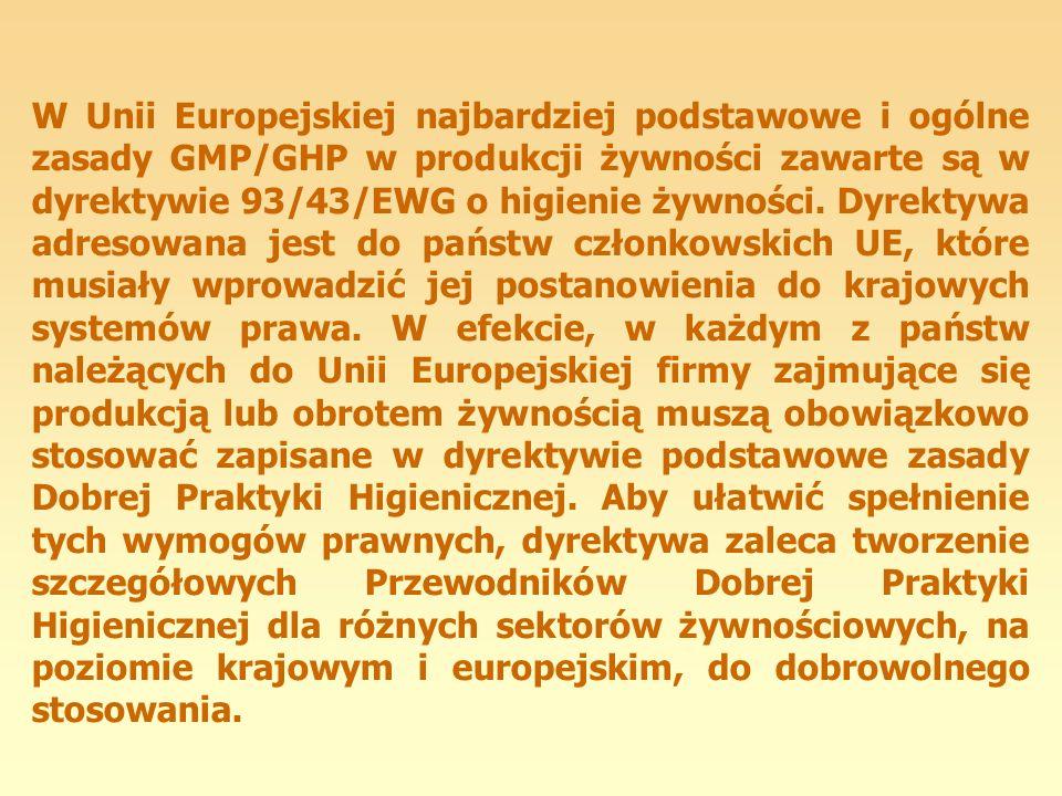 W Unii Europejskiej najbardziej podstawowe i ogólne zasady GMP/GHP w produkcji żywności zawarte są w dyrektywie 93/43/EWG o higienie żywności.