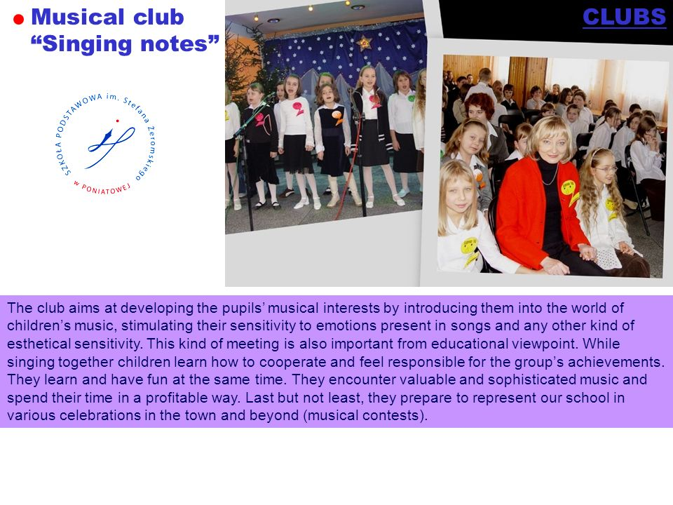 Musical club Singing notes CLUBS