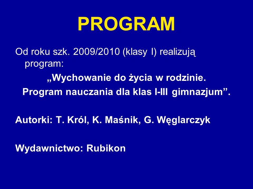 PROGRAM Od roku szk. 2009/2010 (klasy I) realizują program: