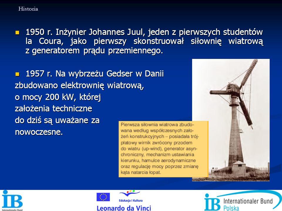 1957 r. Na wybrzeżu Gedser w Danii zbudowano elektrownię wiatrową,