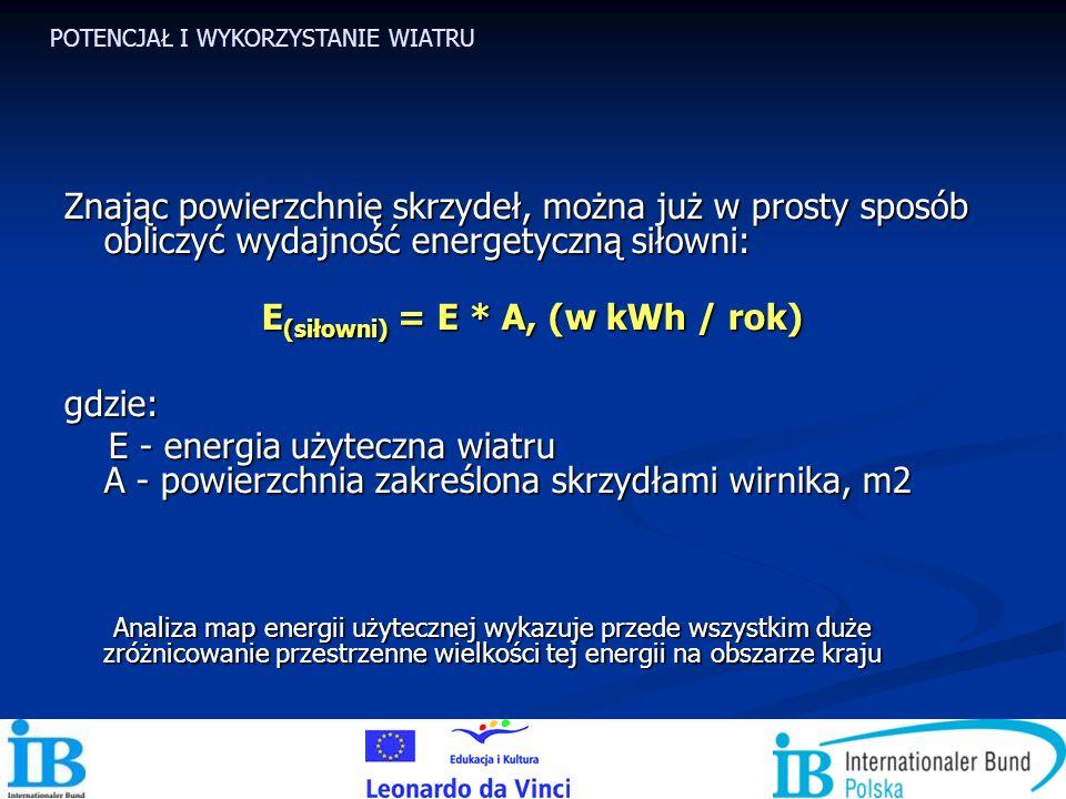 E(siłowni) = E * A, (w kWh / rok)