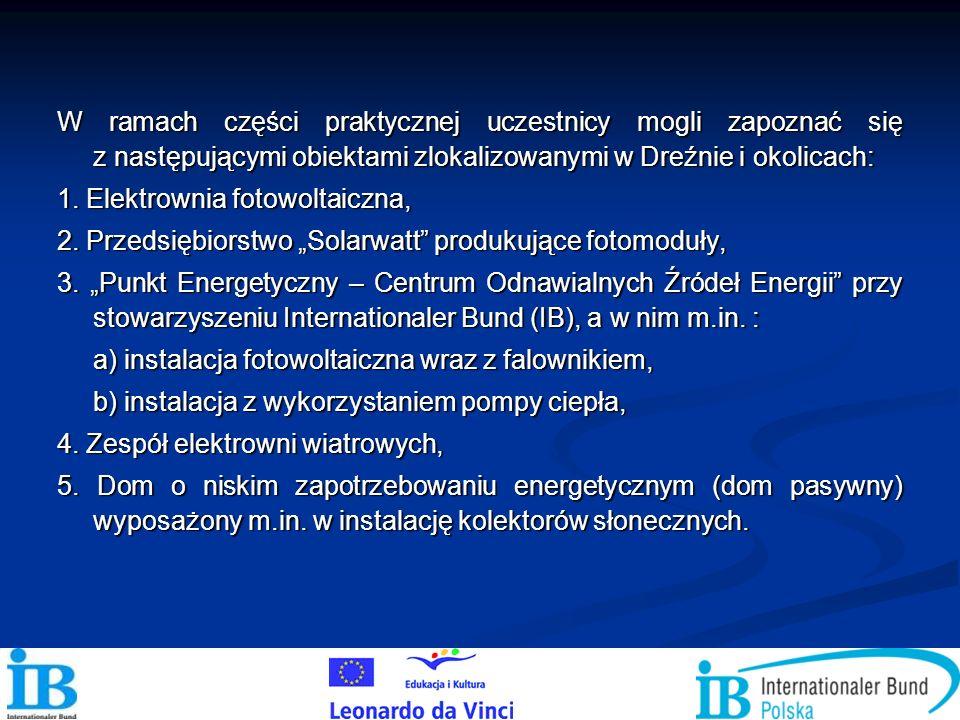 W ramach części praktycznej uczestnicy mogli zapoznać się z następującymi obiektami zlokalizowanymi w Dreźnie i okolicach: