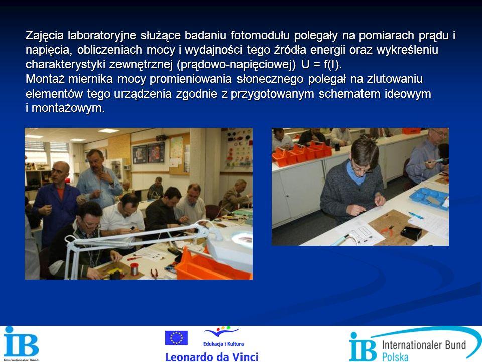 Zajęcia laboratoryjne służące badaniu fotomodułu polegały na pomiarach prądu i napięcia, obliczeniach mocy i wydajności tego źródła energii oraz wykreśleniu charakterystyki zewnętrznej (prądowo-napięciowej) U = f(I).