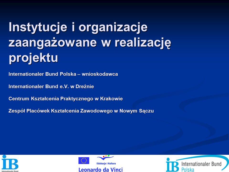 Instytucje i organizacje zaangażowane w realizację projektu Internationaler Bund Polska – wnioskodawca Internationaler Bund e.V.