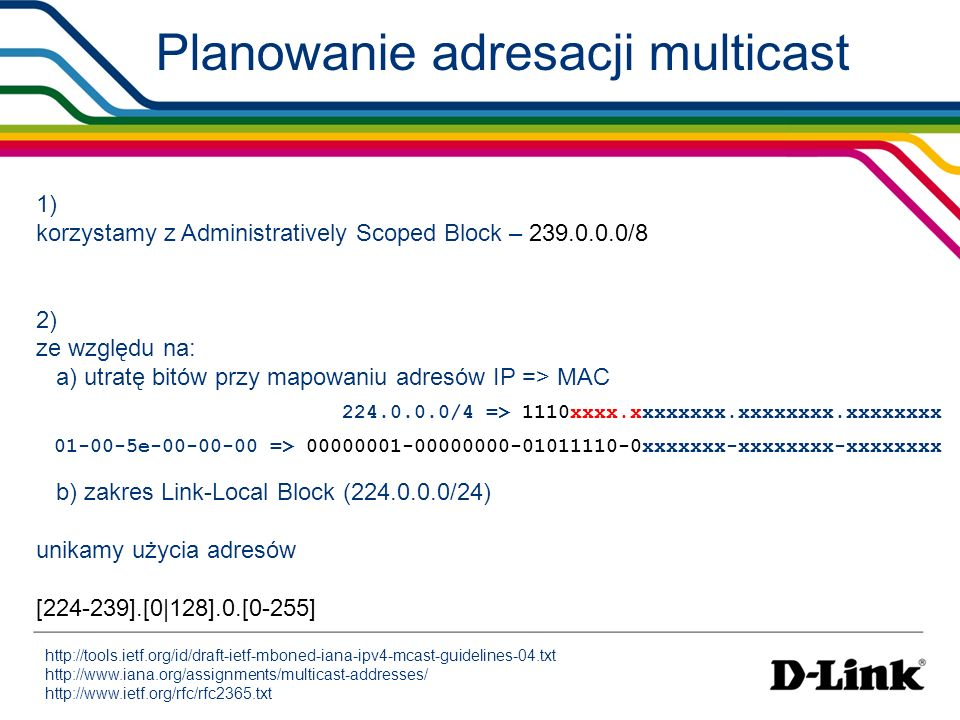 Planowanie adresacji multicast