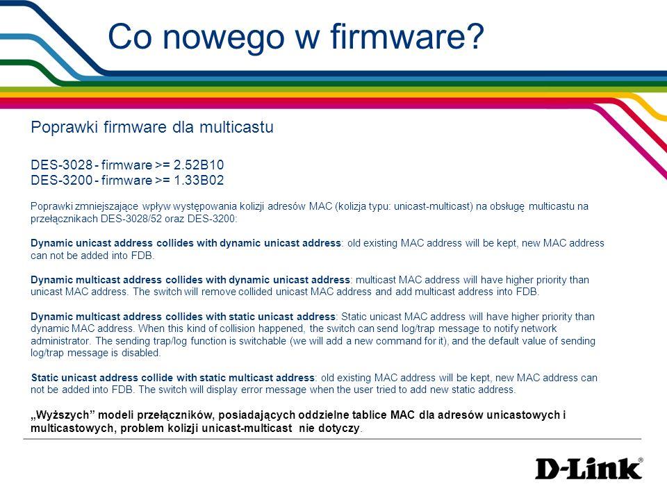 Co nowego w firmware Poprawki firmware dla multicastu