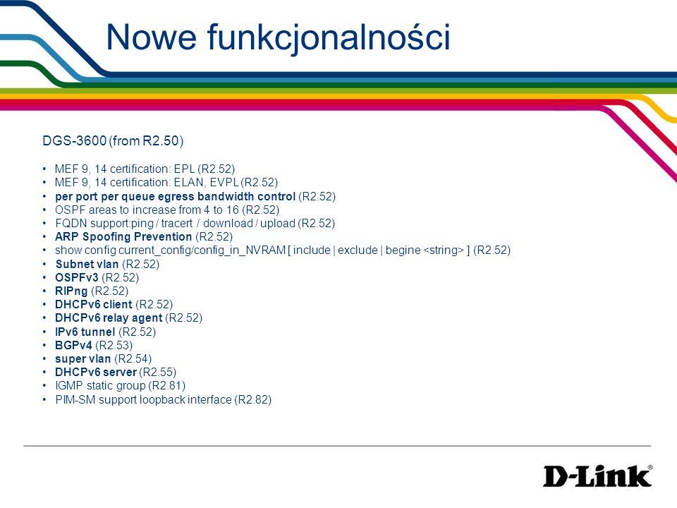 Nowe funkcjonalności DGS-3600 (from R2.50)