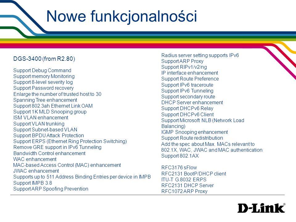 Nowe funkcjonalności DGS-3400 (from R2.80)