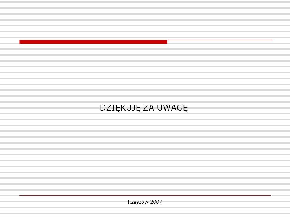 DZIĘKUJĘ ZA UWAGĘ Rzeszów 2007