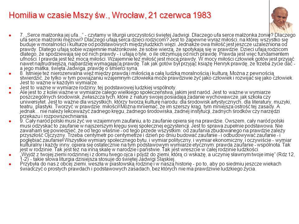 Homilia w czasie Mszy św., Wrocław, 21 czerwca 1983