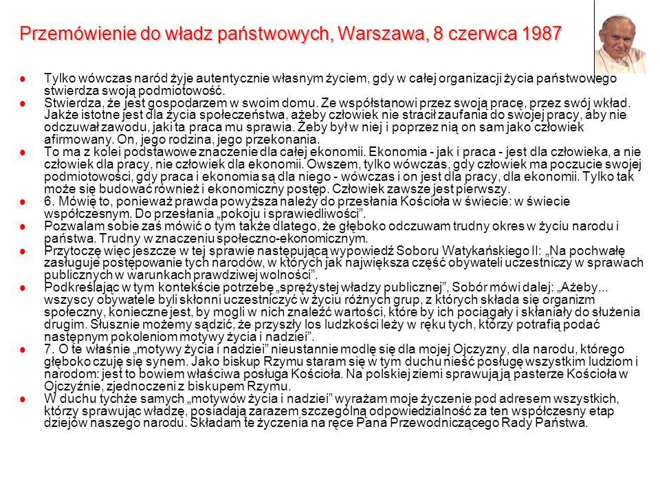 Przemówienie do władz państwowych, Warszawa, 8 czerwca 1987