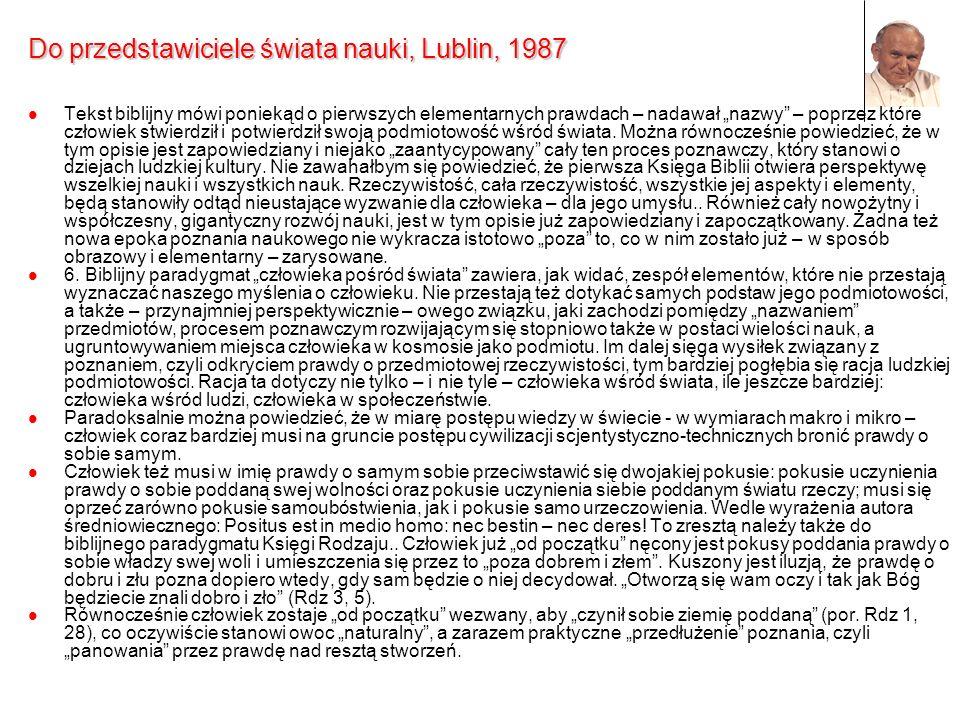 Do przedstawiciele świata nauki, Lublin, 1987