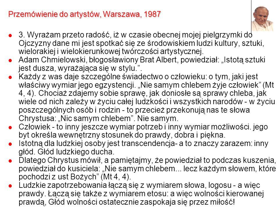 Przemówienie do artystów, Warszawa, 1987