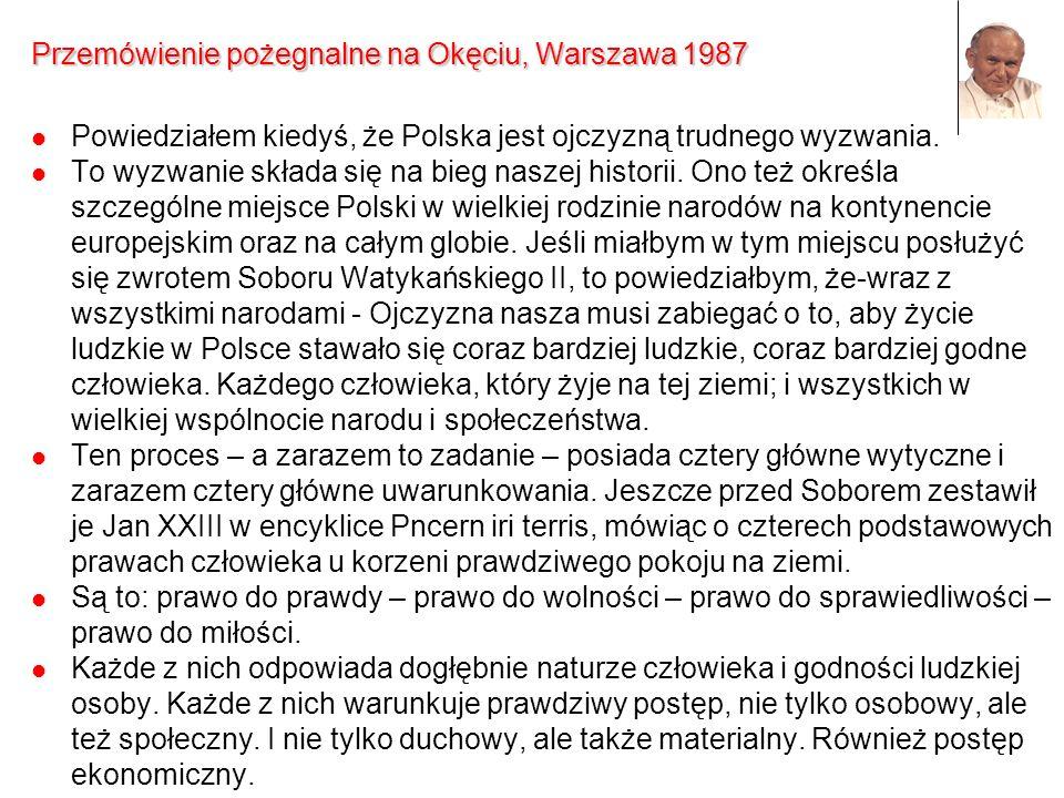 Przemówienie pożegnalne na Okęciu, Warszawa 1987