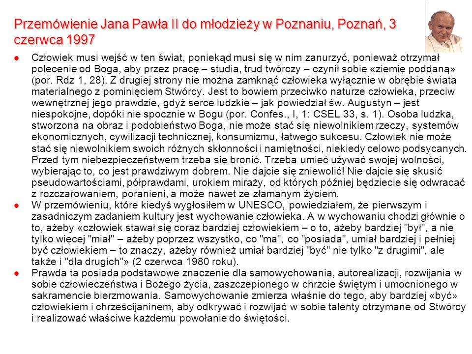 Przemówienie Jana Pawła II do młodzieży w Poznaniu, Poznań, 3 czerwca 1997