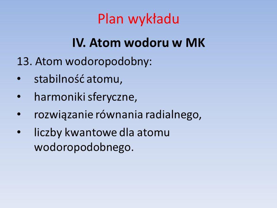 Plan wykładu IV. Atom wodoru w MK 13. Atom wodoropodobny:
