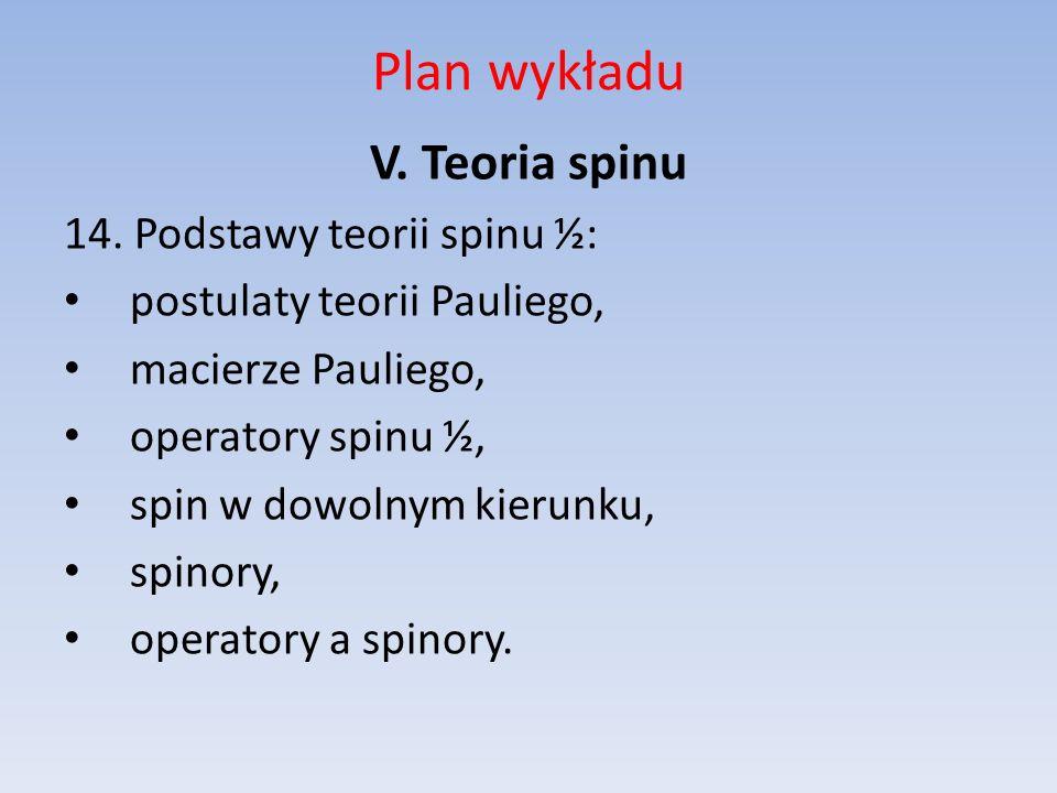 Plan wykładu V. Teoria spinu 14. Podstawy teorii spinu ½: