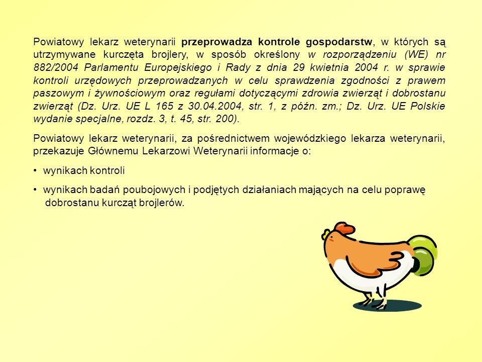 Powiatowy lekarz weterynarii przeprowadza kontrole gospodarstw, w których są utrzymywane kurczęta brojlery, w sposób określony w rozporządzeniu (WE) nr 882/2004 Parlamentu Europejskiego i Rady z dnia 29 kwietnia 2004 r. w sprawie kontroli urzędowych przeprowadzanych w celu sprawdzenia zgodności z prawem paszowym i żywnościowym oraz regułami dotyczącymi zdrowia zwierząt i dobrostanu zwierząt (Dz. Urz. UE L 165 z 30.04.2004, str. 1, z późn. zm.; Dz. Urz. UE Polskie wydanie specjalne, rozdz. 3, t. 45, str. 200).