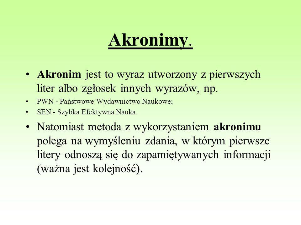 Akronimy. Akronim jest to wyraz utworzony z pierwszych liter albo zgłosek innych wyrazów, np. PWN - Państwowe Wydawnictwo Naukowe;