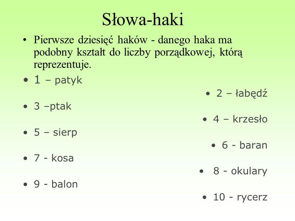 Słowa-haki Pierwsze dziesięć haków - danego haka ma podobny kształt do liczby porządkowej, którą reprezentuje.