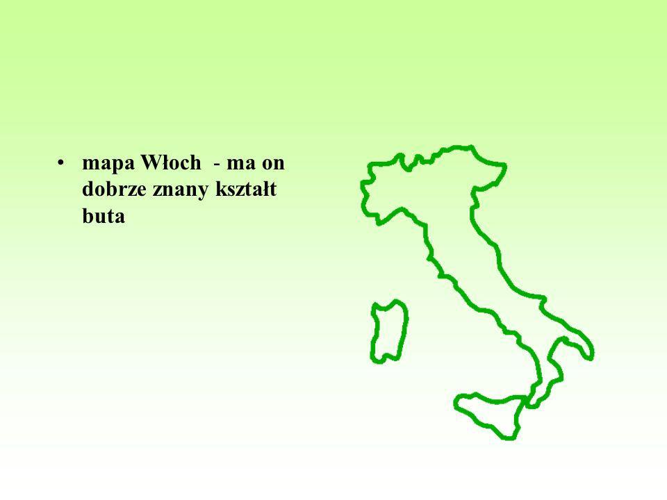 mapa Włoch - ma on dobrze znany kształt buta