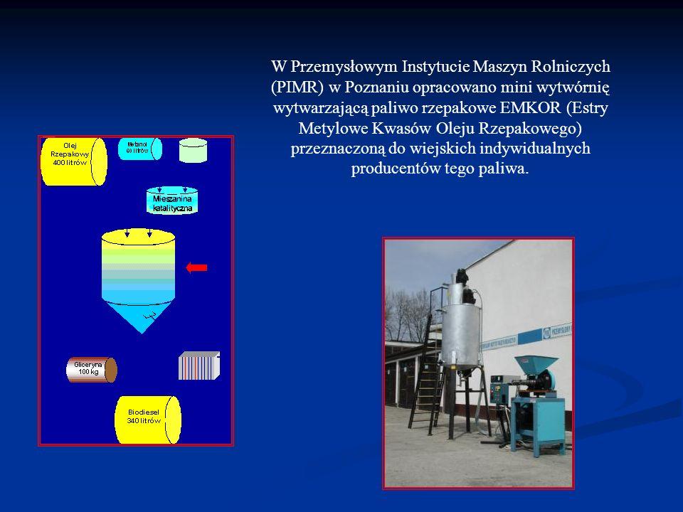 W Przemysłowym Instytucie Maszyn Rolniczych (PIMR) w Poznaniu opracowano mini wytwórnię wytwarzającą paliwo rzepakowe EMKOR (Estry Metylowe Kwasów Oleju Rzepakowego) przeznaczoną do wiejskich indywidualnych producentów tego paliwa.