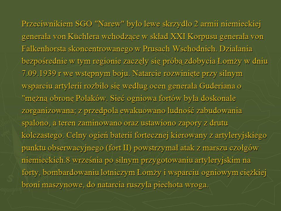 Przeciwnikiem SGO Narew było lewe skrzydło 2 armii niemieckiej