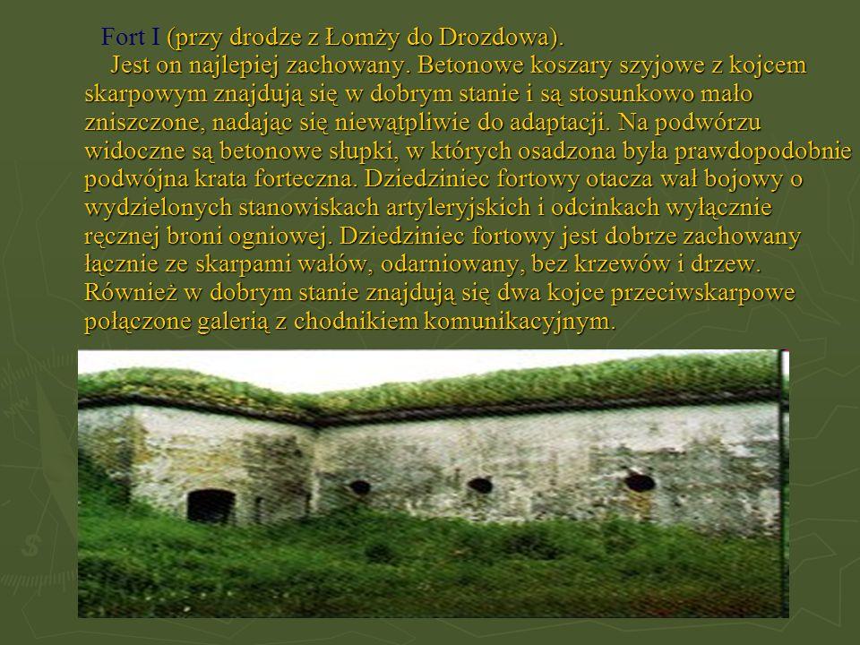 Fort I (przy drodze z Łomży do Drozdowa). Jest on najlepiej zachowany