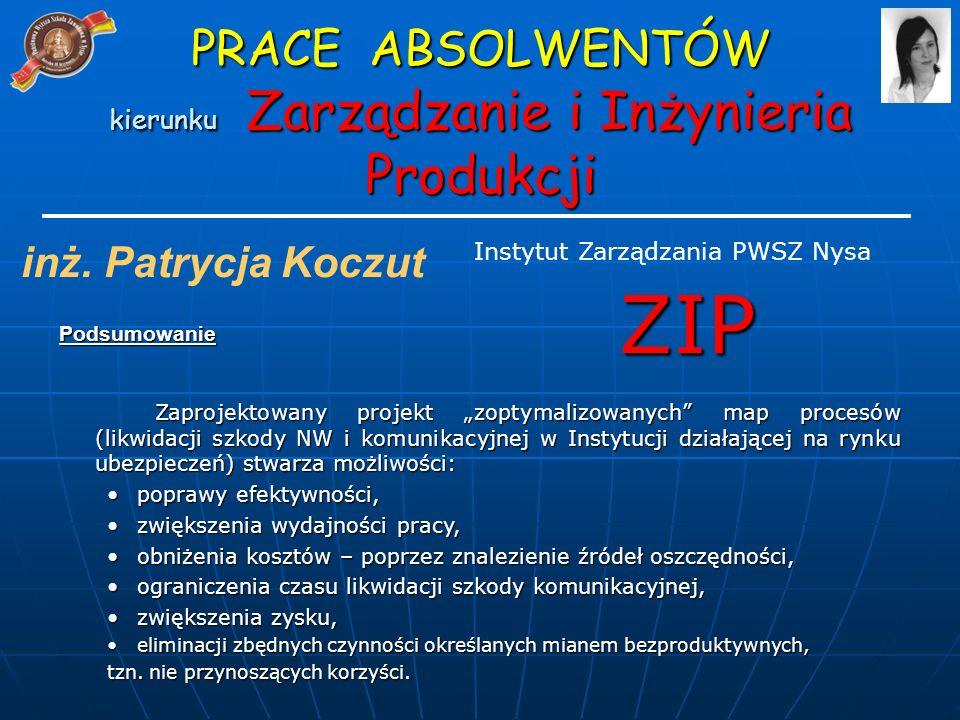 PRACE ABSOLWENTÓW kierunku Zarządzanie i Inżynieria Produkcji