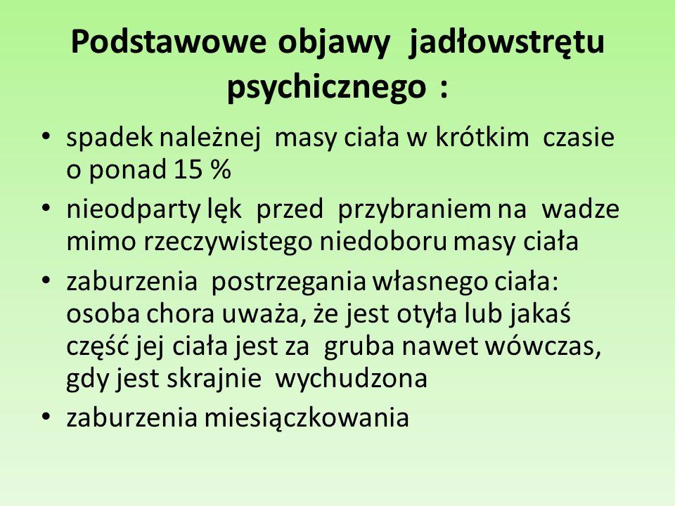 Podstawowe objawy jadłowstrętu psychicznego :