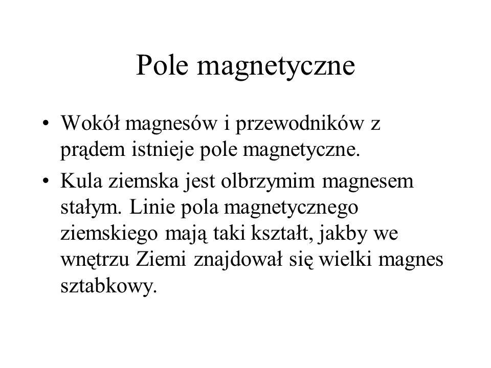 Pole magnetyczne Wokół magnesów i przewodników z prądem istnieje pole magnetyczne.