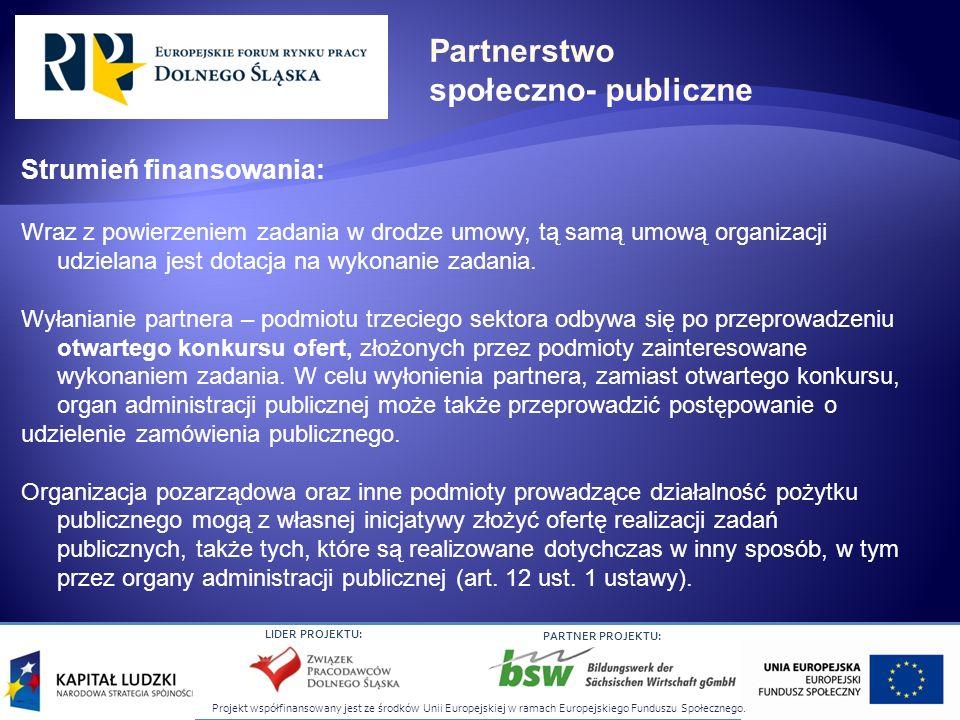 Partnerstwo społeczno- publiczne Strumień finansowania: