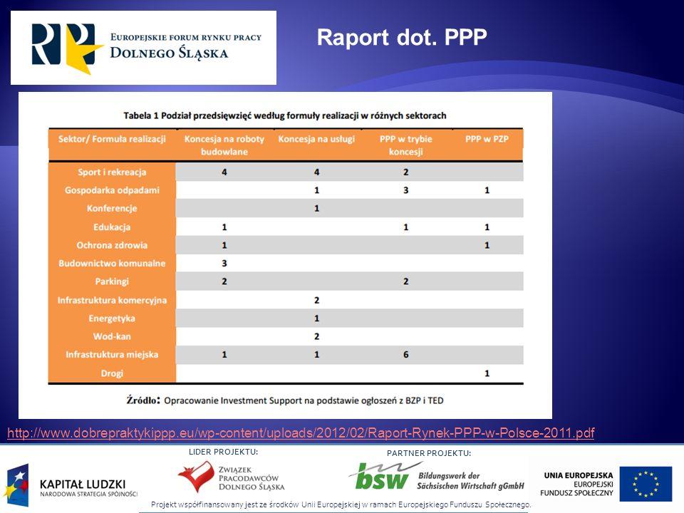 Raport dot. PPP http://www.dobrepraktykippp.eu/wp-content/uploads/2012/02/Raport-Rynek-PPP-w-Polsce-2011.pdf.