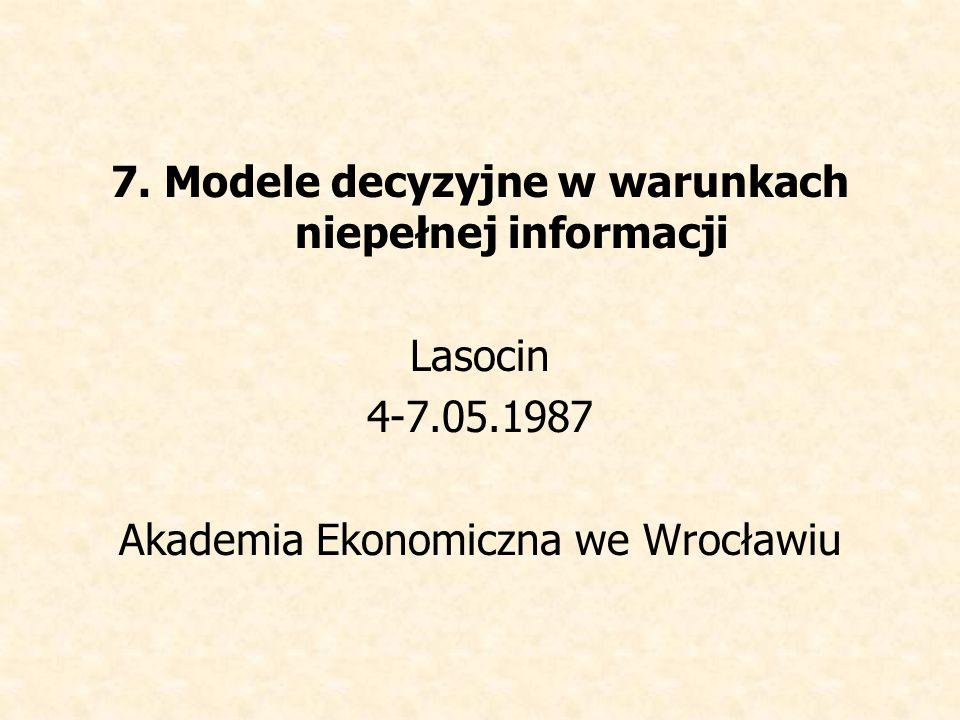 7. Modele decyzyjne w warunkach niepełnej informacji