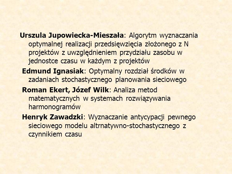 Urszula Jupowiecka-Mieszała: Algorytm wyznaczania optymalnej realizacji przedsięwzięcia złożonego z N projektów z uwzględnieniem przydziału zasobu w jednostce czasu w każdym z projektów Edmund Ignasiak: Optymalny rozdział środków w zadaniach stochastycznego planowania sieciowego Roman Ekert, Józef Wilk: Analiza metod matematycznych w systemach rozwiązywania harmonogramów Henryk Zawadzki: Wyznaczanie antycypacji pewnego sieciowego modelu altrnatywno-stochastycznego z czynnikiem czasu