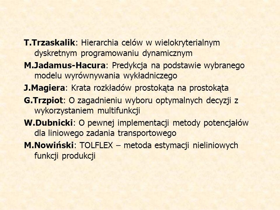 T.Trzaskalik: Hierarchia celów w wielokryterialnym dyskretnym programowaniu dynamicznym M.Jadamus-Hacura: Predykcja na podstawie wybranego modelu wyrównywania wykładniczego J.Magiera: Krata rozkładów prostokąta na prostokąta G.Trzpiot: O zagadnieniu wyboru optymalnych decyzji z wykorzystaniem multifunkcji W.Dubnicki: O pewnej implementacji metody potencjałów dla liniowego zadania transportowego M.Nowiński: TOLFLEX – metoda estymacji nieliniowych funkcji produkcji