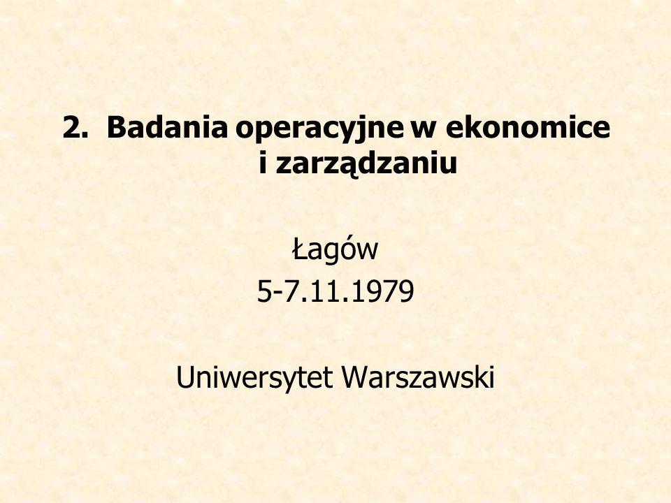 Badania operacyjne w ekonomice i zarządzaniu