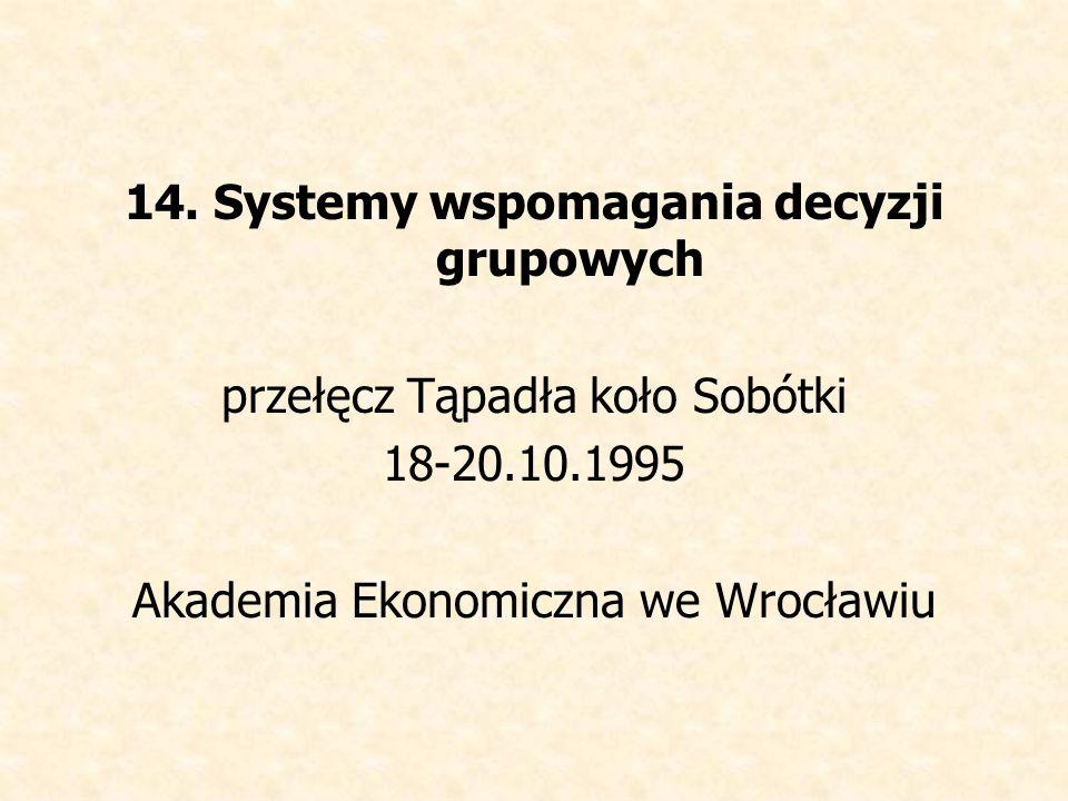 14. Systemy wspomagania decyzji grupowych