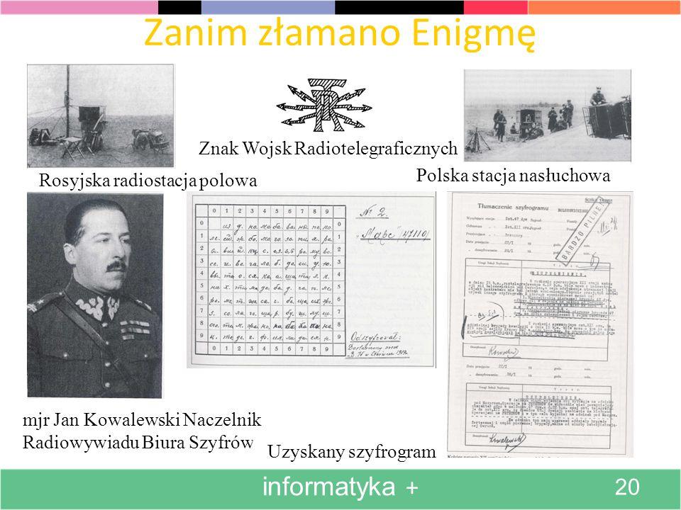 Zanim złamano Enigmę informatyka + Znak Wojsk Radiotelegraficznych