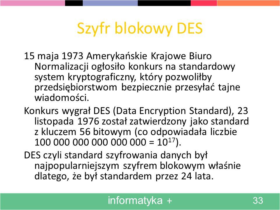 Szyfr blokowy DES