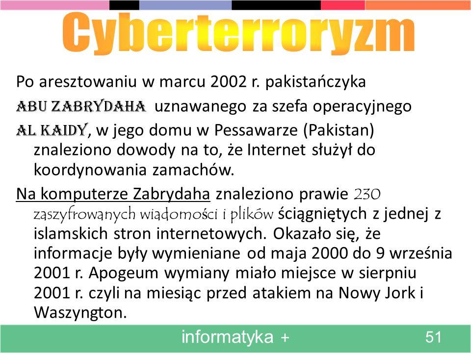 Cyberterroryzm Po aresztowaniu w marcu 2002 r. pakistańczyka