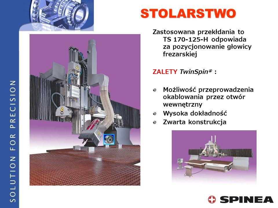 STOLARSTWO Zastosowana przekłdania to TS 170-125-H odpowiada za pozycjonowanie głowicy frezarskiej.