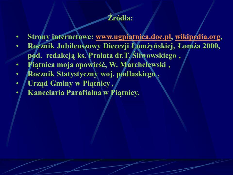 Źródła: Strony internetowe: www.ugpiatnica.doc.pl, wikipedia.org, Rocznik Jubileuszowy Diecezji Łomżyńskiej, Łomża 2000,