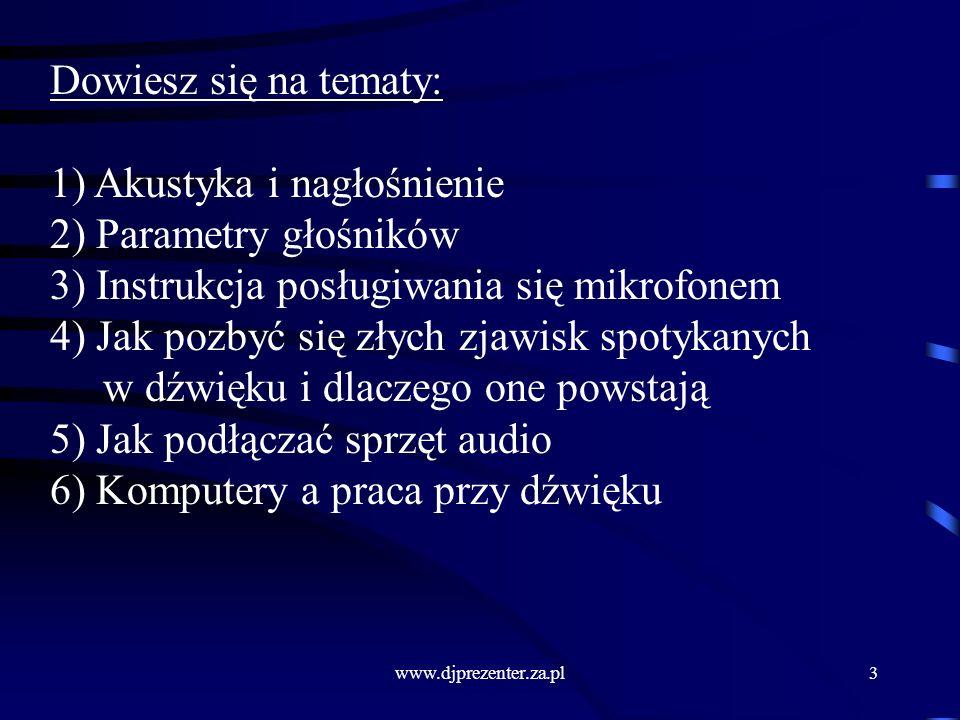 1) Akustyka i nagłośnienie 2) Parametry głośników