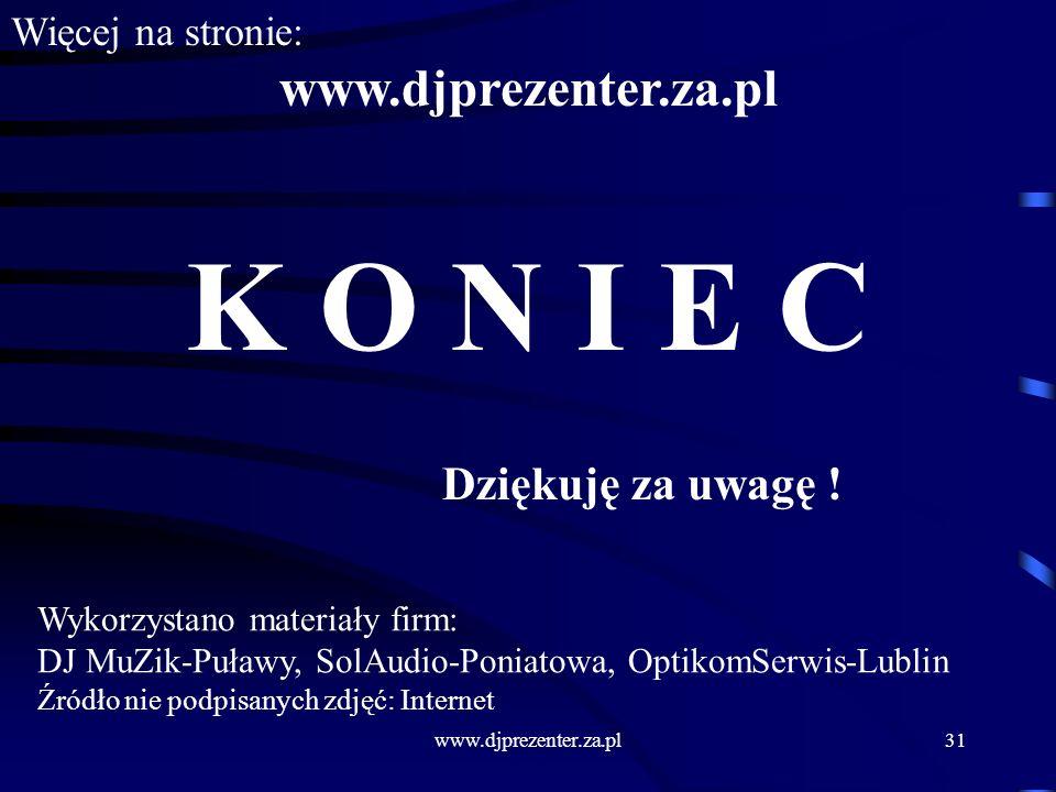 K O N I E C www.djprezenter.za.pl Dziękuję za uwagę !