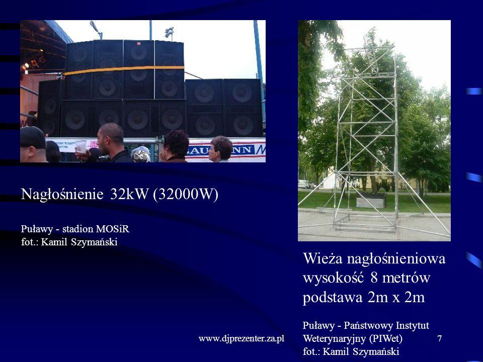 Nagłośnienie 32kW (32000W) Wieża nagłośnieniowa wysokość 8 metrów