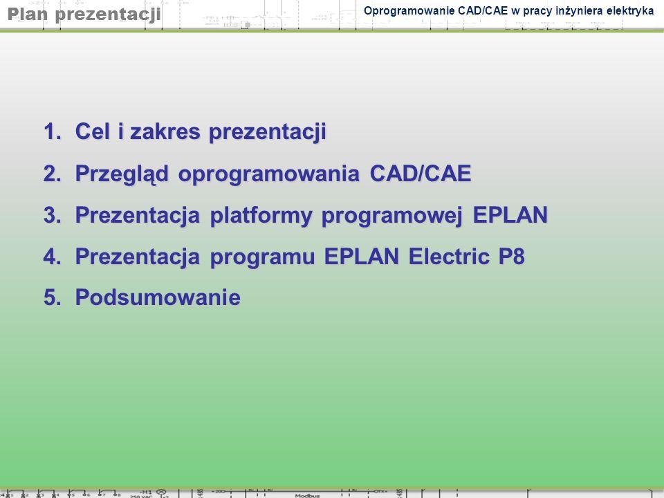 1. Cel i zakres prezentacji 2. Przegląd oprogramowania CAD/CAE